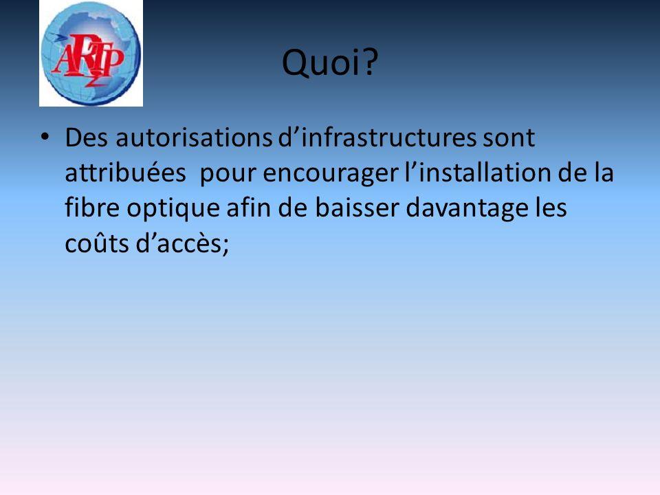 Quoi? Des autorisations dinfrastructures sont attribuées pour encourager linstallation de la fibre optique afin de baisser davantage les coûts daccès;