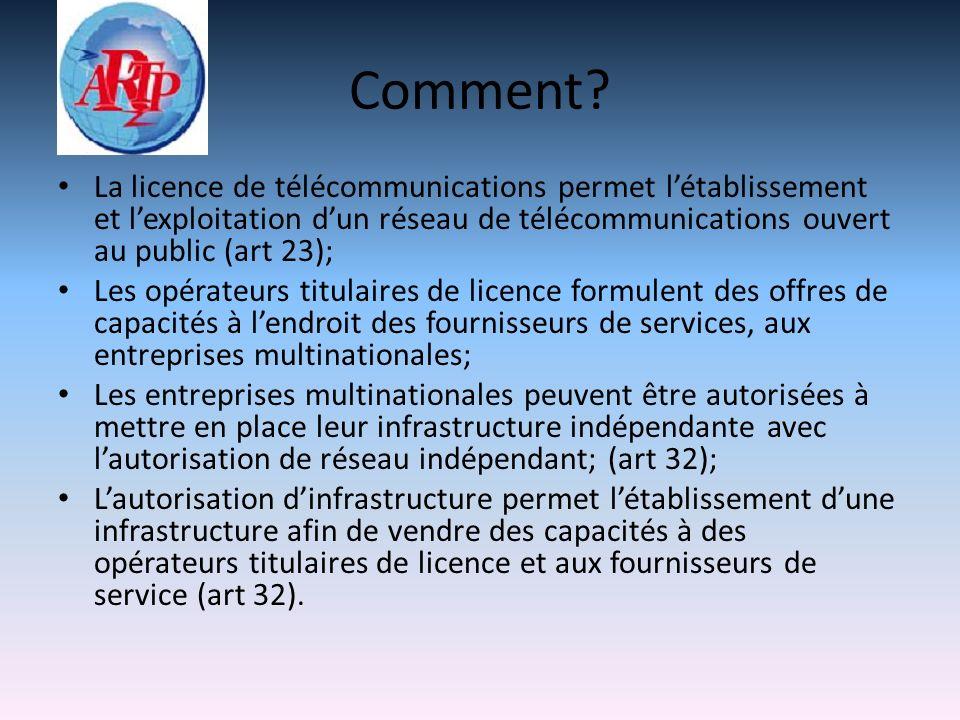 Comment? La licence de télécommunications permet létablissement et lexploitation dun réseau de télécommunications ouvert au public (art 23); Les opéra