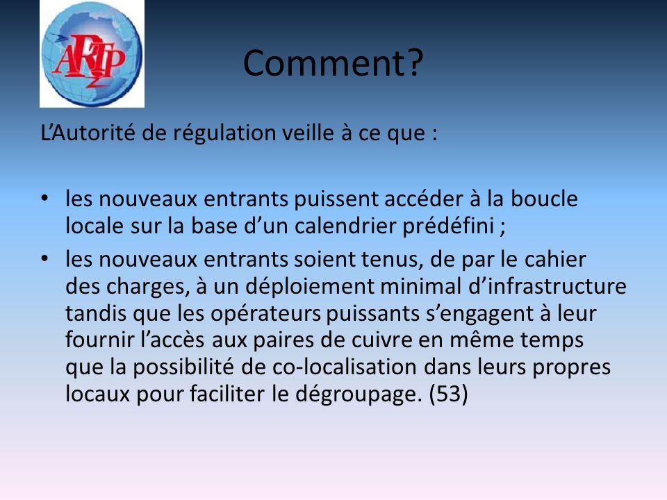 Comment? LAutorité de régulation veille à ce que : les nouveaux entrants puissent accéder à la boucle locale sur la base dun calendrier prédéfini ; le