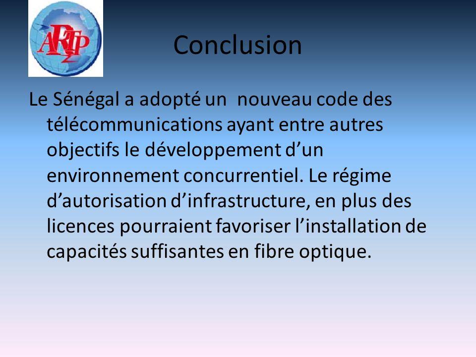 Conclusion Le Sénégal a adopté un nouveau code des télécommunications ayant entre autres objectifs le développement dun environnement concurrentiel.