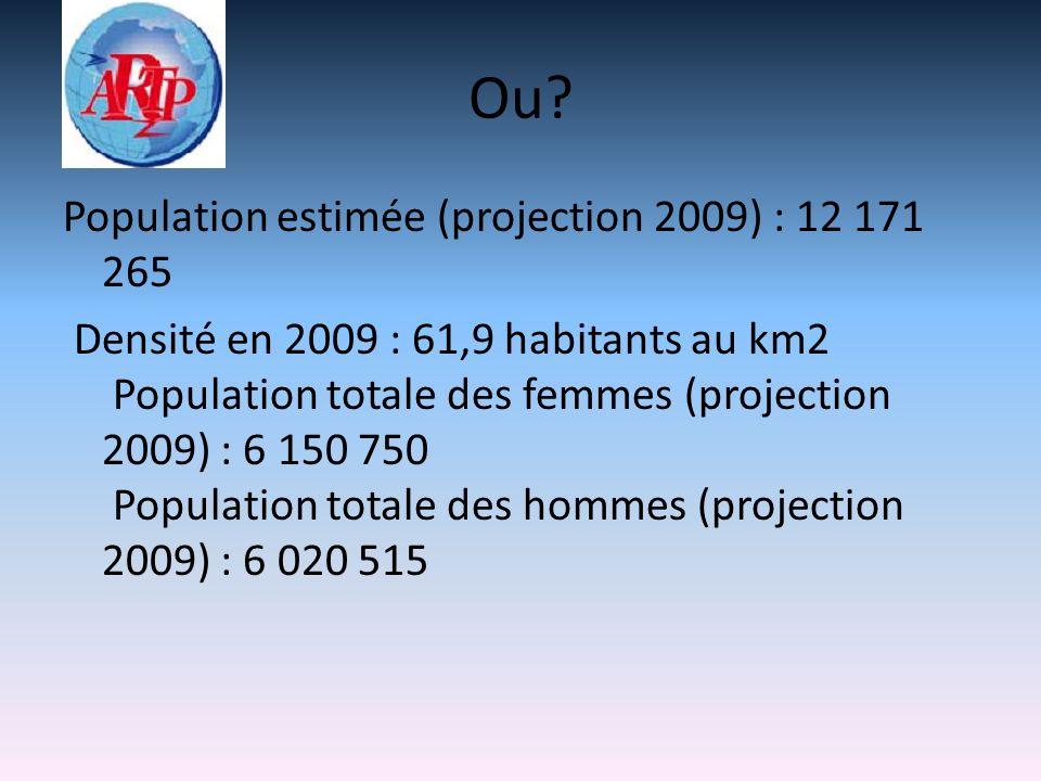 Ou? Population estimée (projection 2009) : 12 171 265 Densité en 2009 : 61,9 habitants au km2 Population totale des femmes (projection 2009) : 6 150 7