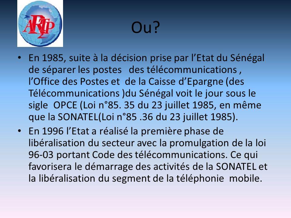 Ou? En 1985, suite à la décision prise par lEtat du Sénégal de séparer les postes des télécommunications, lOffice des Postes et de la Caisse dEpargne