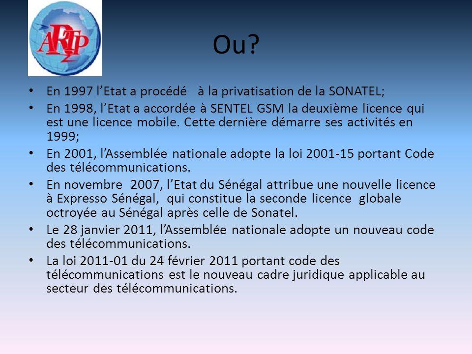 Ou? En 1997 lEtat a procédé à la privatisation de la SONATEL; En 1998, lEtat a accordée à SENTEL GSM la deuxième licence qui est une licence mobile. C