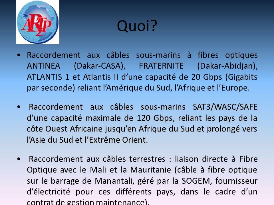 Quoi? Raccordement aux câbles sous-marins à fibres optiques ANTINEA (Dakar-CASA), FRATERNITE (Dakar-Abidjan), ATLANTIS 1 et Atlantis II dune capacité