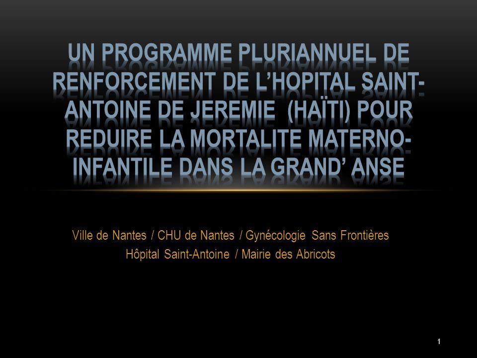 1 Ville de Nantes / CHU de Nantes / Gynécologie Sans Frontières Hôpital Saint-Antoine / Mairie des Abricots