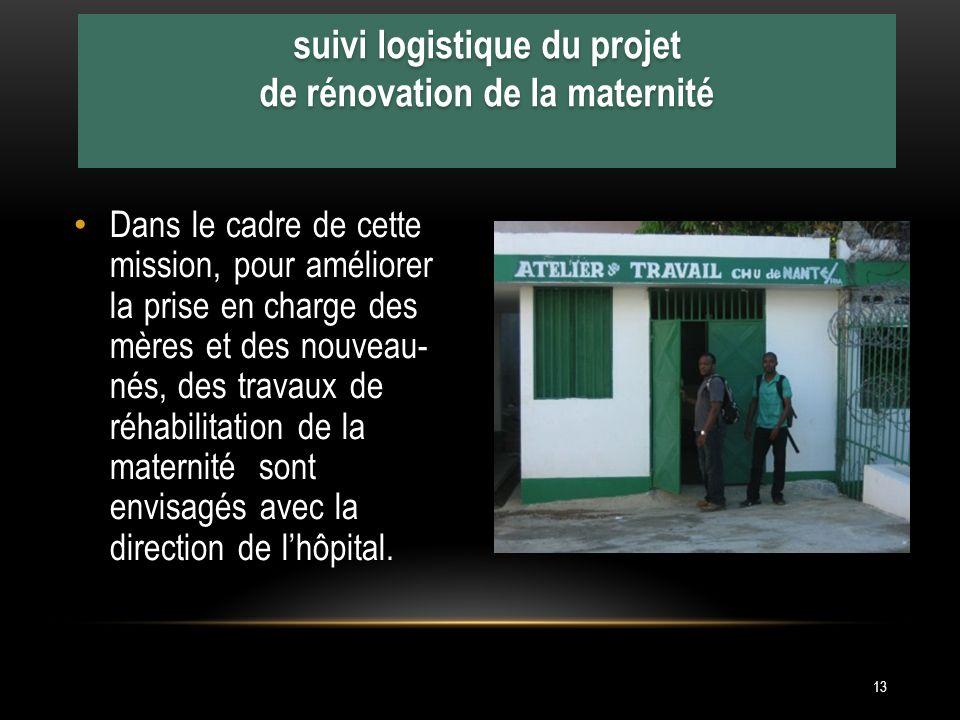 Dans le cadre de cette mission, pour améliorer la prise en charge des mères et des nouveau- nés, des travaux de réhabilitation de la maternité sont envisagés avec la direction de lhôpital.