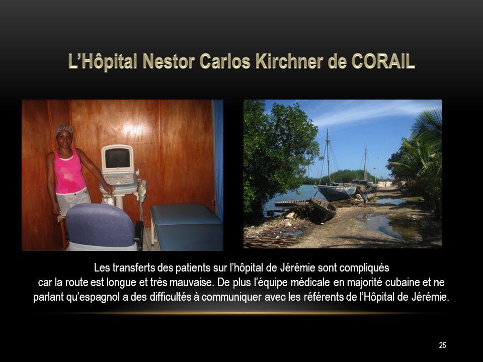 25 Les transferts des patients sur lhôpital de Jérémie sont compliqués car la route est longue et très mauvaise.