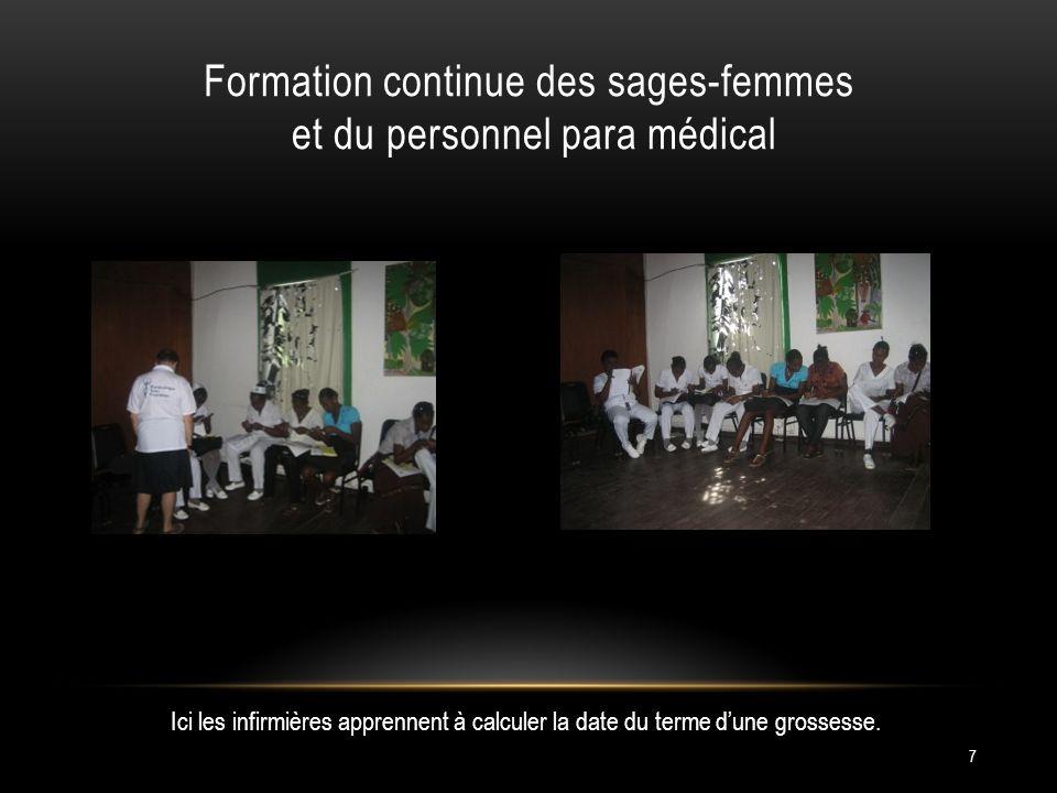 Formation continue des sages-femmes et du personnel para médical 7 Ici les infirmières apprennent à calculer la date du terme dune grossesse.