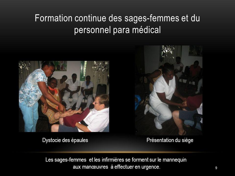 Formation continue des sages-femmes et du personnel para médical 9 Les sages-femmes et les infirmières se forment sur le mannequin aux manœuvres à effectuer en urgence.