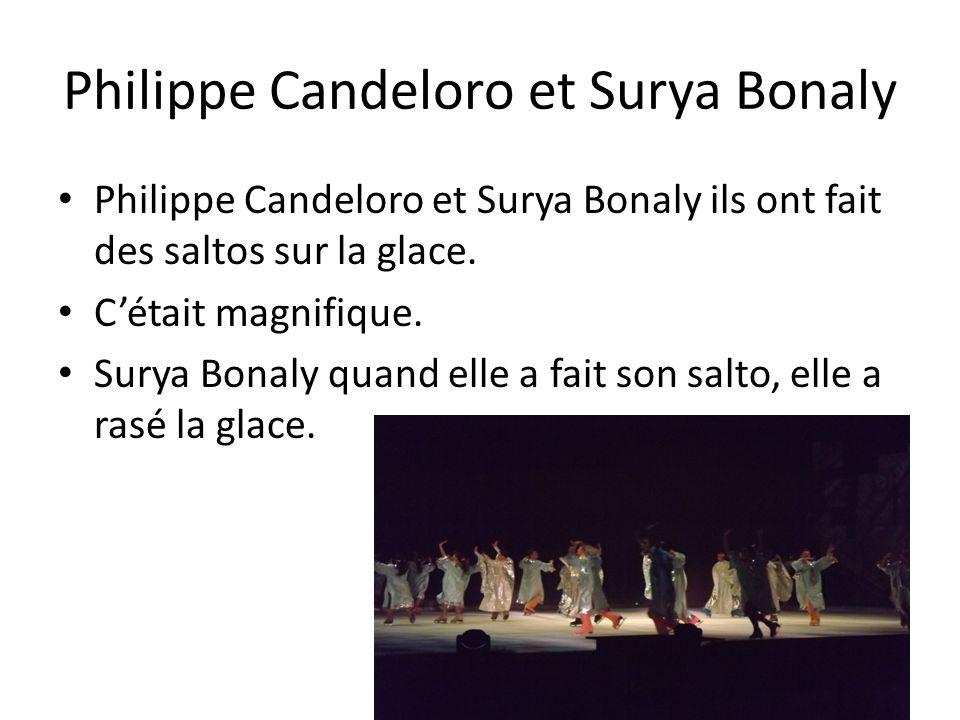 Philippe Candeloro et Surya Bonaly Philippe Candeloro et Surya Bonaly ils ont fait des saltos sur la glace. Cétait magnifique. Surya Bonaly quand elle