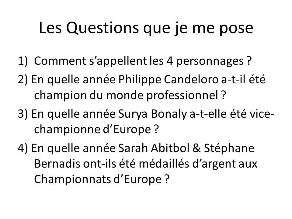 Les Questions que je me pose 1)Comment sappellent les 4 personnages ? 2) En quelle année Philippe Candeloro a-t-il été champion du monde professionnel