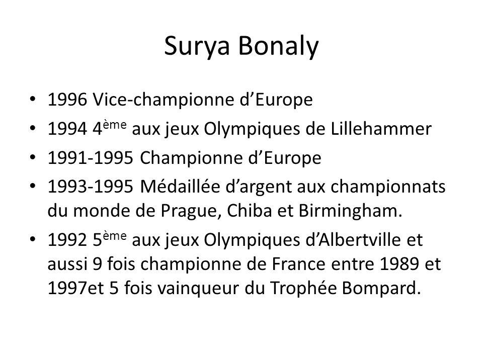 Surya Bonaly 1996 Vice-championne dEurope 1994 4 ème aux jeux Olympiques de Lillehammer 1991-1995 Championne dEurope 1993-1995 Médaillée dargent aux c