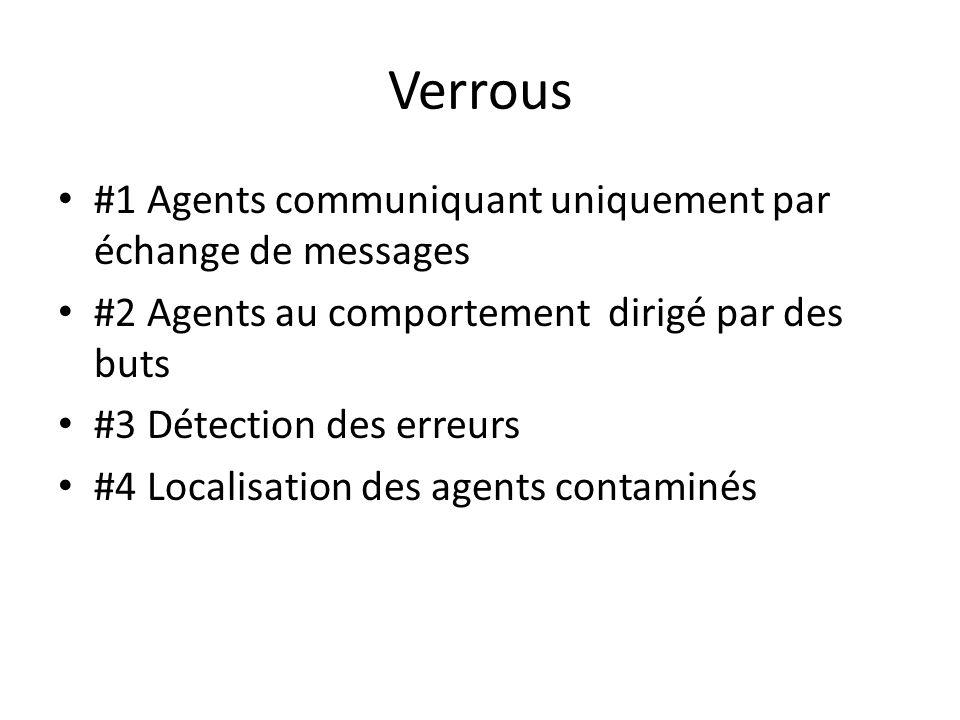 Verrous #1 Agents communiquant uniquement par échange de messages #2 Agents au comportement dirigé par des buts #3 Détection des erreurs #4 Localisati