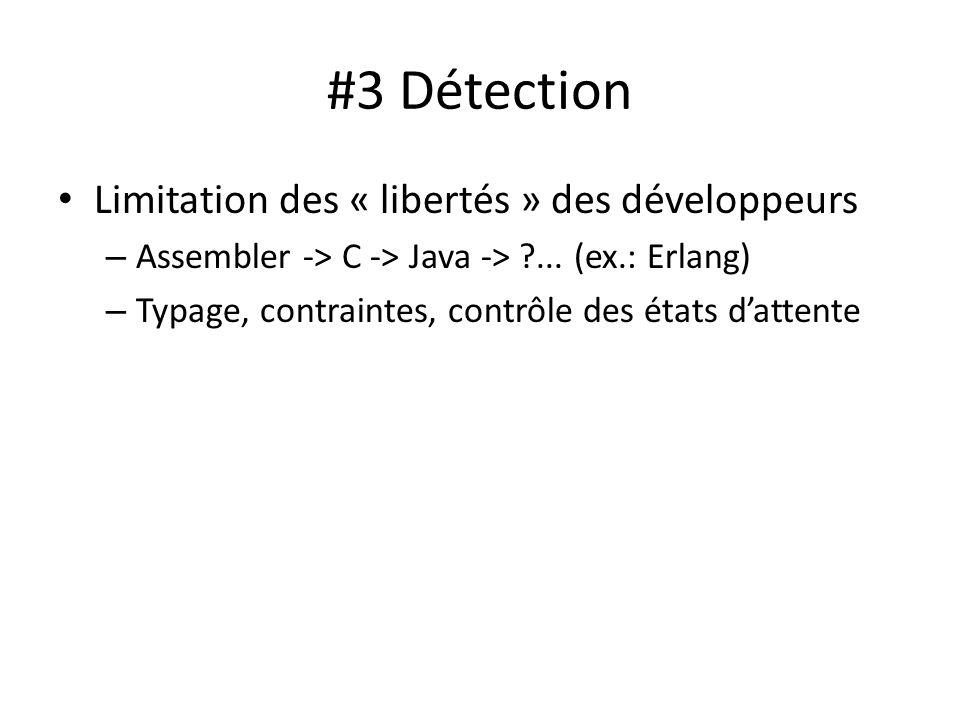 #3 Détection Limitation des « libertés » des développeurs – Assembler -> C -> Java -> ?... (ex.: Erlang) – Typage, contraintes, contrôle des états dat