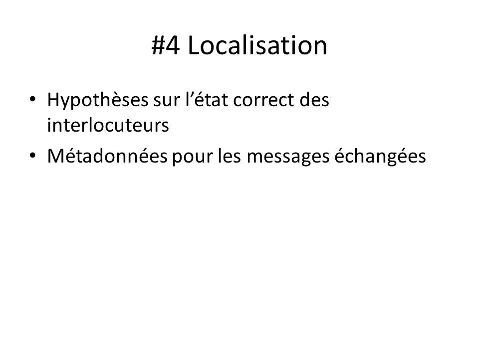 #4 Localisation Hypothèses sur létat correct des interlocuteurs Métadonnées pour les messages échangées