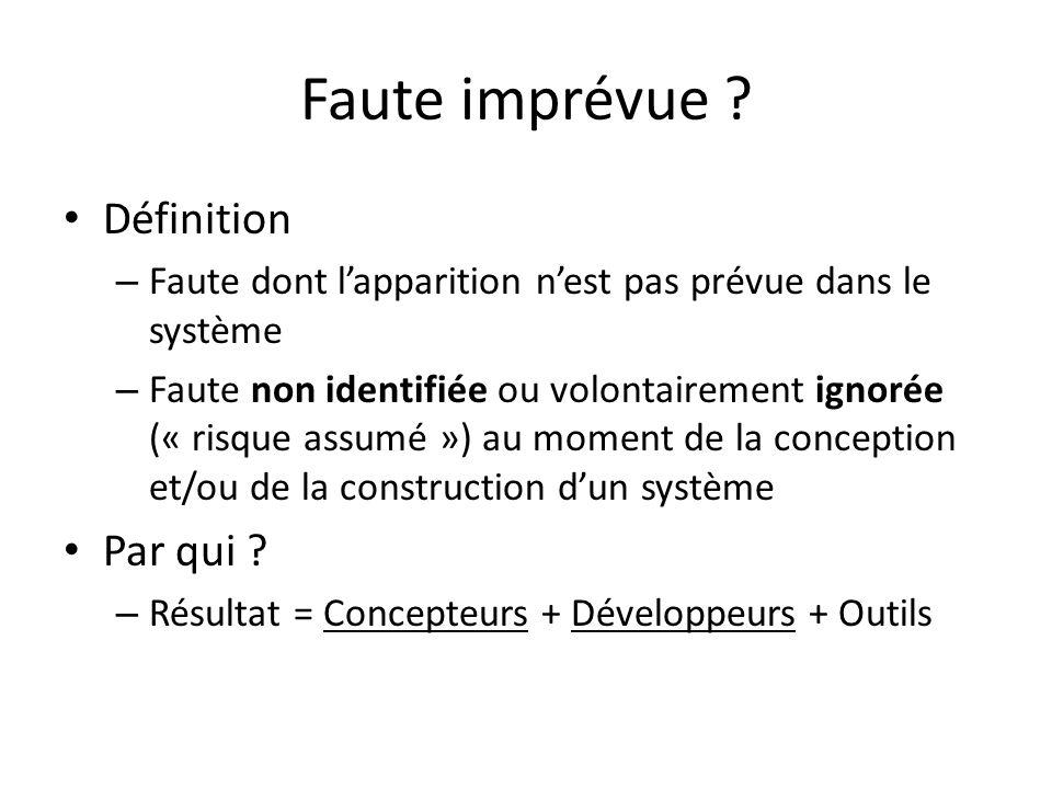 Notes suite à la présentation Q : Est-ce que vous vous intéressez que à des fautes de conception et de développement ou à dautres fautes aussi.