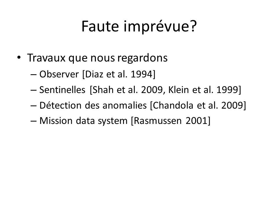 Faute imprévue? Travaux que nous regardons – Observer [Diaz et al. 1994] – Sentinelles [Shah et al. 2009, Klein et al. 1999] – Détection des anomalies