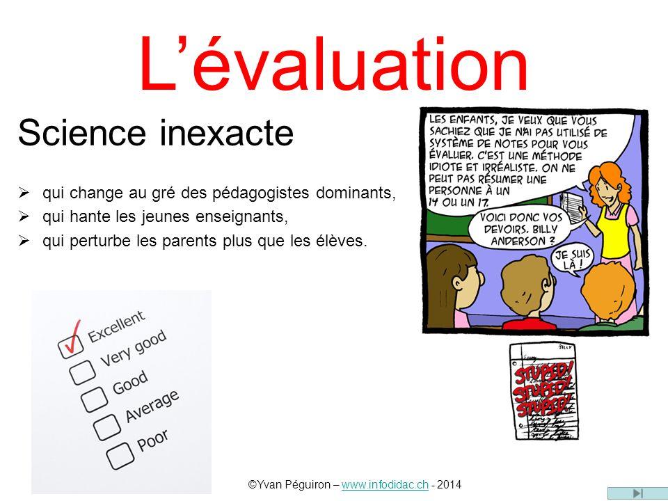 Lévaluation Science inexacte qui change au gré des pédagogistes dominants, qui hante les jeunes enseignants, qui perturbe les parents plus que les élèves.