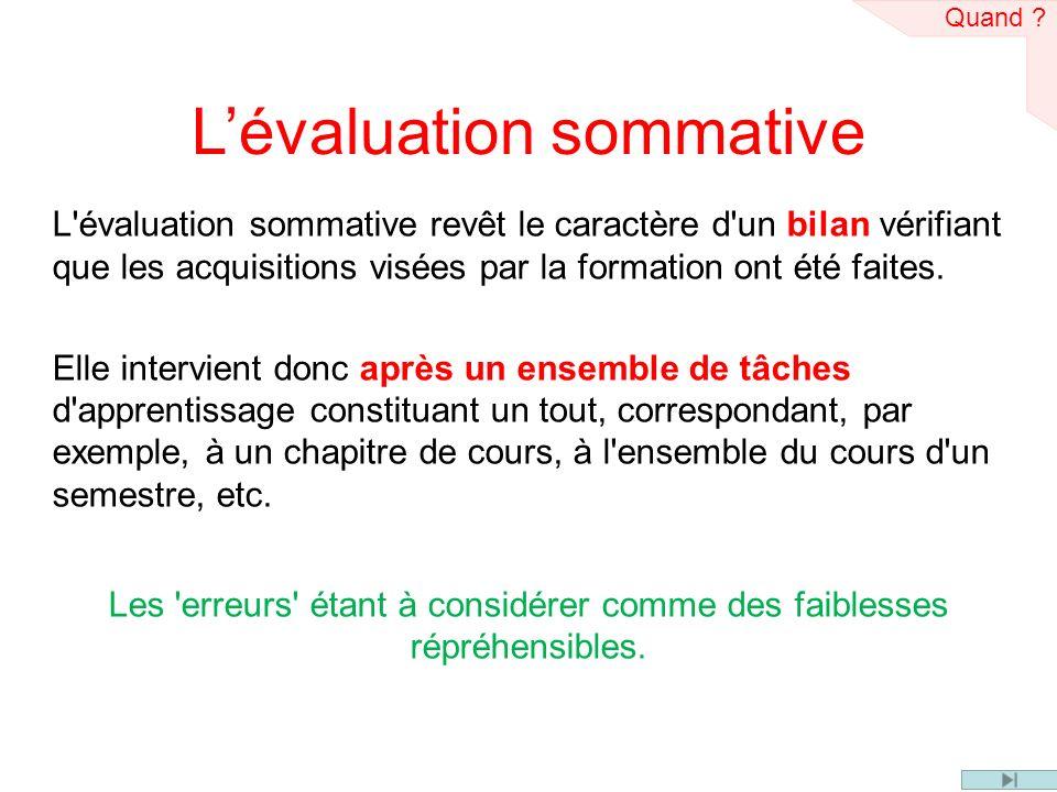 Lévaluation sommative L'évaluation sommative revêt le caractère d'un bilan vérifiant que les acquisitions visées par la formation ont été faites. Elle