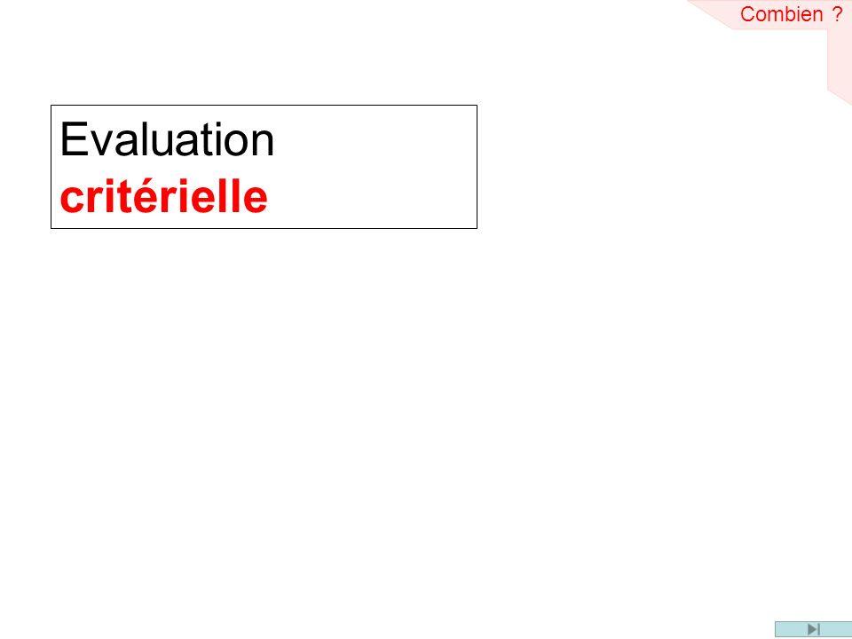 Evaluation critérielle Combien ?