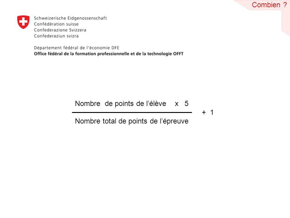 Nombre de points de lélève x 5 + 1 Nombre total de points de lépreuve Combien ?