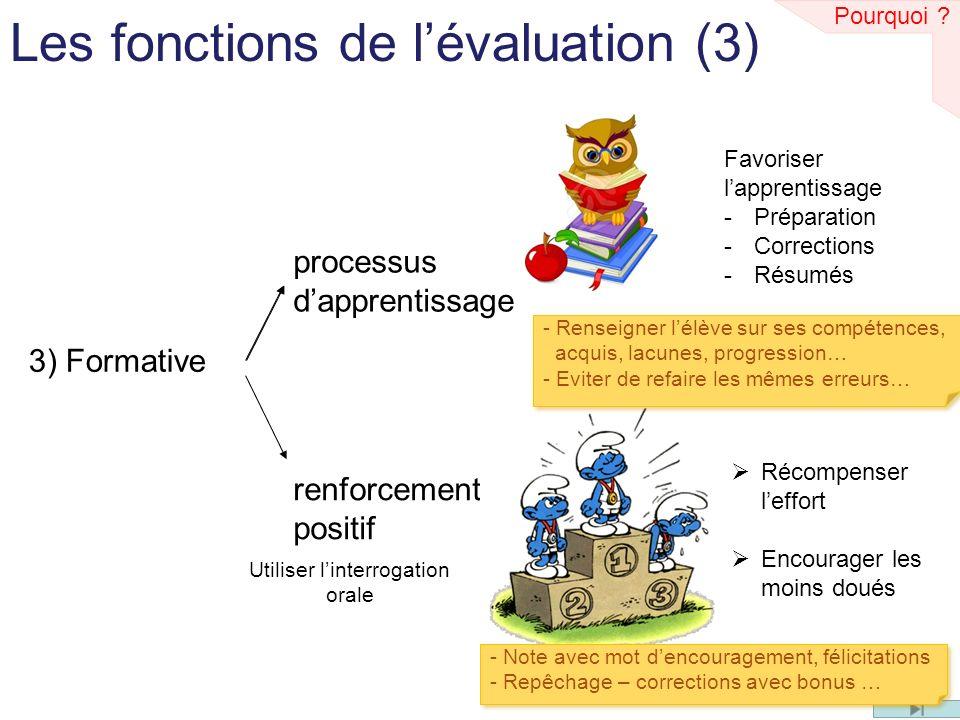 Les fonctions de lévaluation (3) 3) Formative processus dapprentissage renforcement positif Favoriser lapprentissage -Préparation -Corrections -Résumés Récompenser leffort Encourager les moins doués Pourquoi .