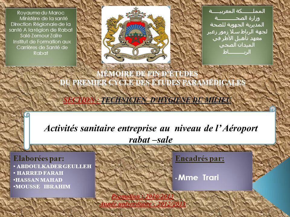RAM (Royal Air Maroc ) ONDA ( Office National De lAéroport ) DOUANE Unité Médical FRET