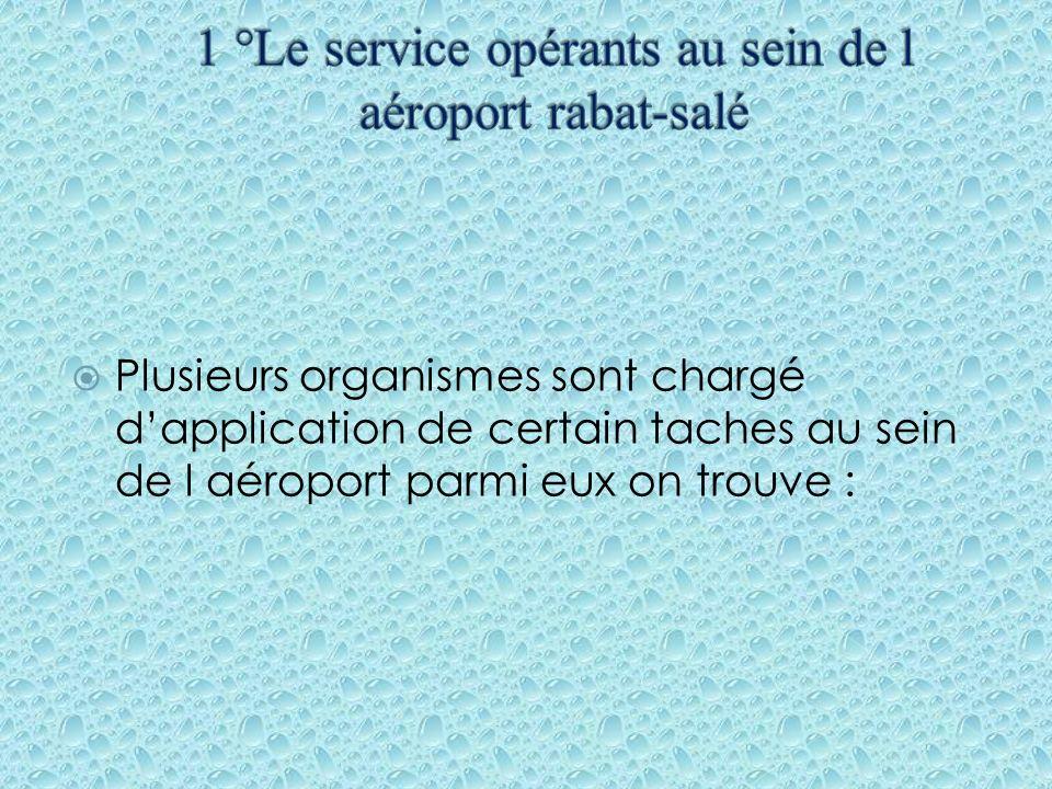 Plusieurs organismes sont chargé dapplication de certain taches au sein de l aéroport parmi eux on trouve :