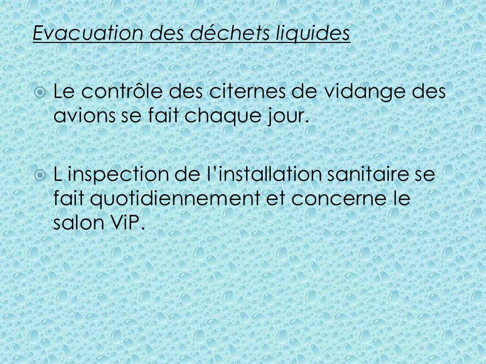 Evacuation des déchets liquides Le contrôle des citernes de vidange des avions se fait chaque jour. L inspection de linstallation sanitaire se fait qu