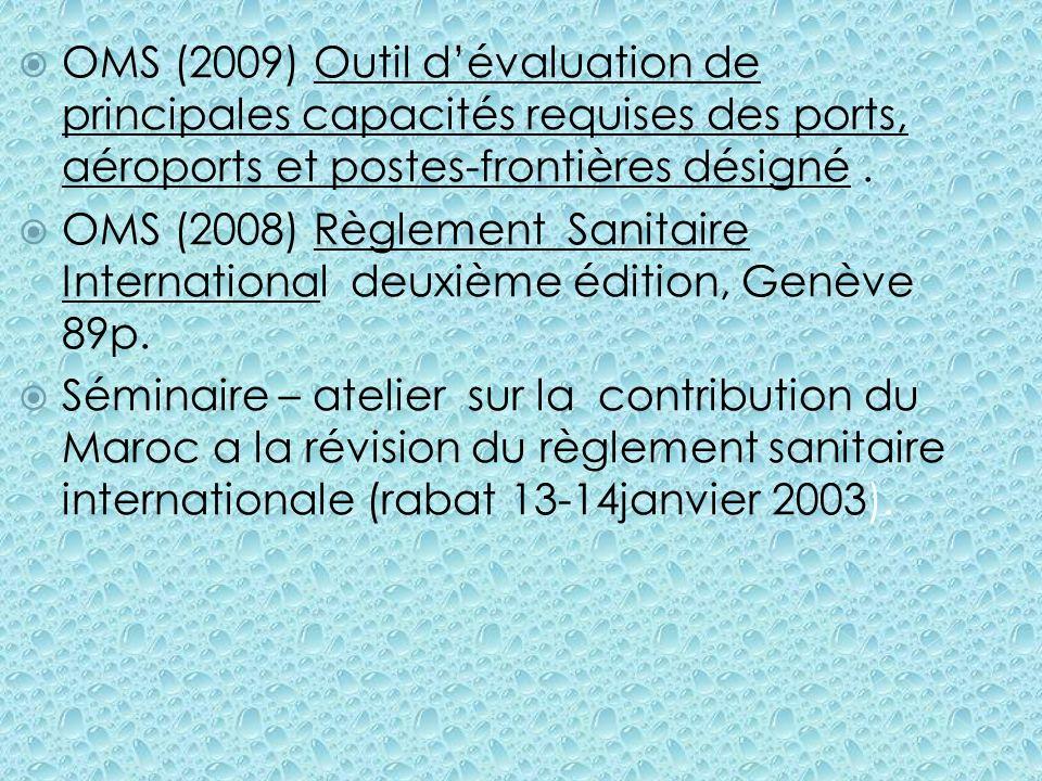 OMS (2009) Outil dévaluation de principales capacités requises des ports, aéroports et postes-frontières désigné. OMS (2008) Règlement Sanitaire Inter