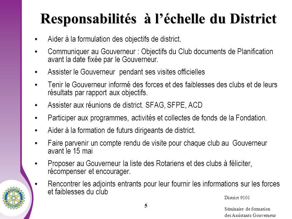 District 9100 Séminaire de formation des Assistants Gouverneur 5 Responsabilités à léchelle du District Aider à la formulation des objectifs de district.