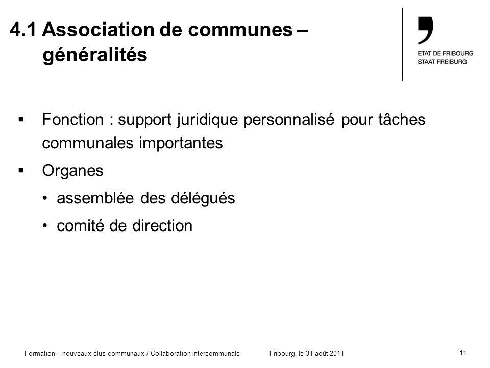 11 Formation – nouveaux élus communaux / Collaboration intercommunaleFribourg, le 31 août 2011 4.1 Association de communes – généralités Fonction : su