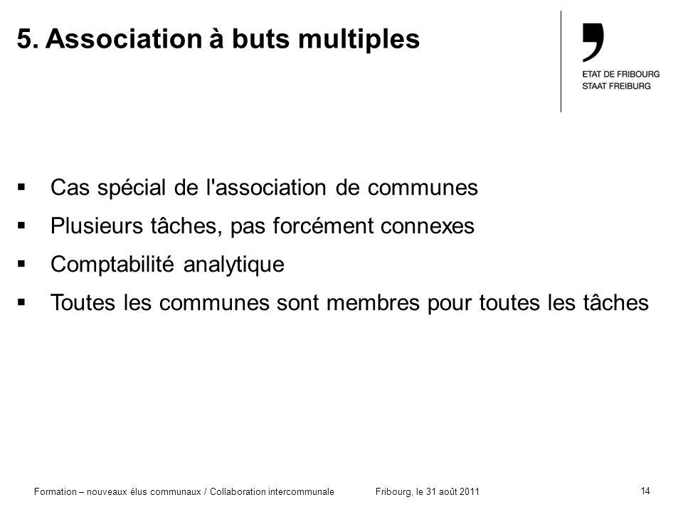 14 Formation – nouveaux élus communaux / Collaboration intercommunaleFribourg, le 31 août 2011 5. Association à buts multiples Cas spécial de l'associ