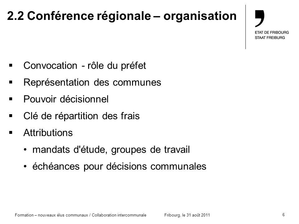 6 Formation – nouveaux élus communaux / Collaboration intercommunaleFribourg, le 31 août 2011 2.2 Conférence régionale – organisation Convocation - rô