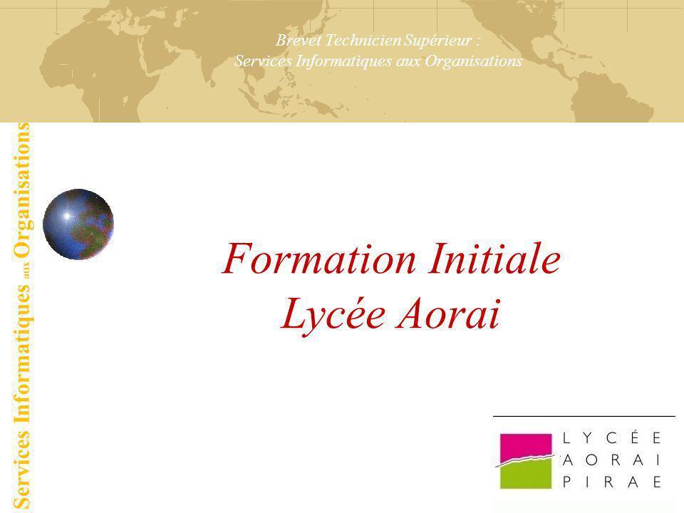 Brevet Technicien Supérieur : Services Informatiques aux Organisations Formation Initiale Lycée Aorai Services Informatiques aux Organisations