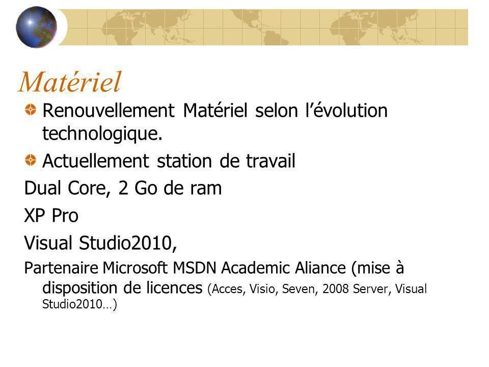Matériel Renouvellement Matériel selon lévolution technologique. Actuellement station de travail Dual Core, 2 Go de ram XP Pro Visual Studio2010, Part