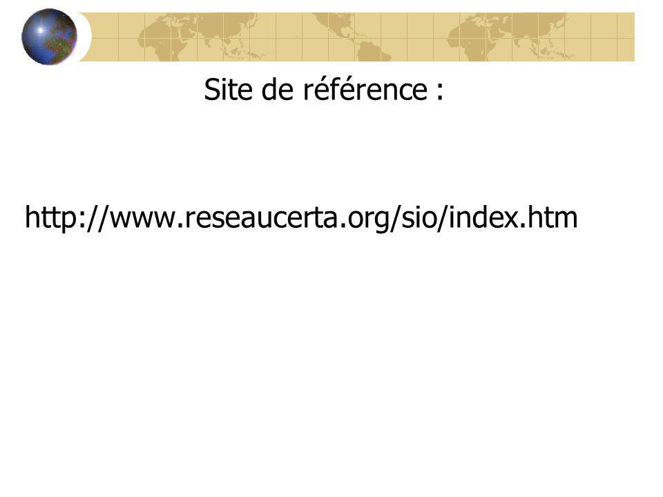 Site de référence : http://www.reseaucerta.org/sio/index.htm