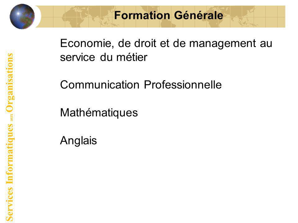 Formation Générale Economie, de droit et de management au service du métier Communication Professionnelle Mathématiques Anglais Services Informatiques