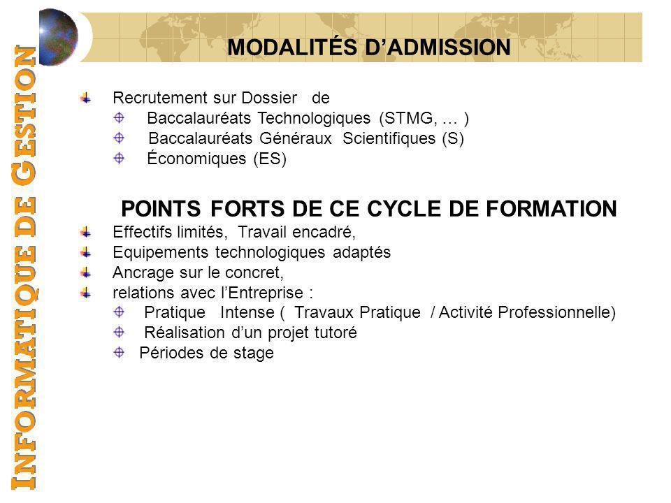 MODALITÉS DADMISSION Recrutement sur Dossier de Baccalauréats Technologiques (STMG, … ) Baccalauréats Généraux Scientifiques (S) Économiques (ES) POIN