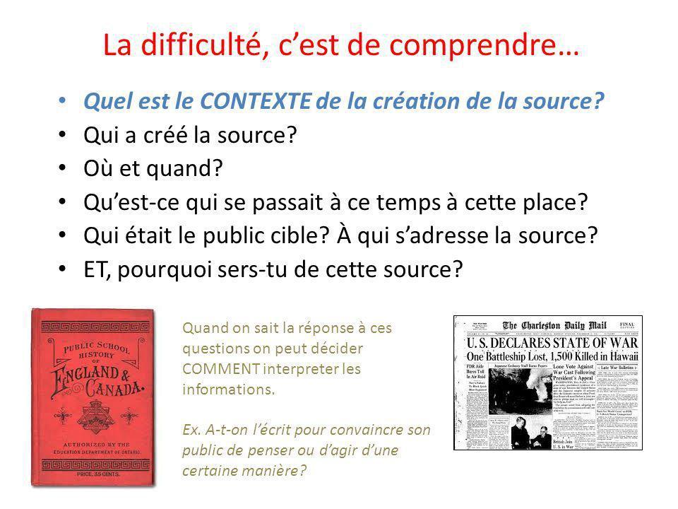 La difficulté, cest de comprendre… Quel est le CONTEXTE de la création de la source.