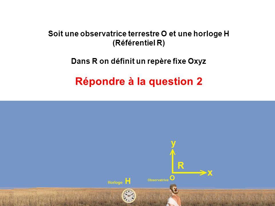 Soit une observatrice terrestre O et une horloge H (Référentiel R) Dans R on définit un repère fixe Oxyz Répondre à la question 2