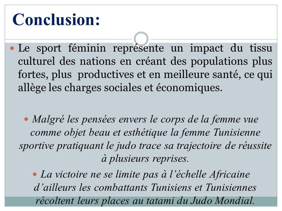 Conclusion: Le sport féminin représente un impact du tissu culturel des nations en créant des populations plus fortes, plus productives et en meilleur