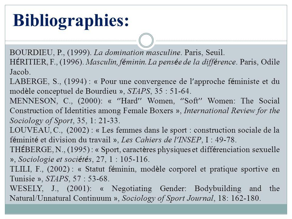 Bibliographies: BOURDIEU, P., (1999). La domination masculine. Paris, Seuil. H É RITIER, F., (1996). Masculin, f é minin. La pens é e de la diff é ren