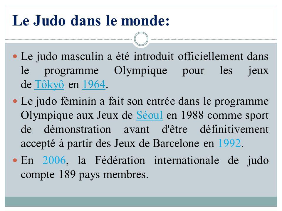 Le Judo dans le monde: Le judo masculin a été introduit officiellement dans le programme Olympique pour les jeux de Tôkyô en 1964.Tôkyô1964 Le judo fé
