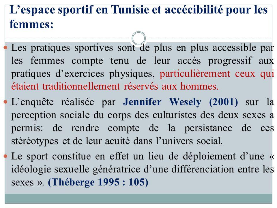 Lespace sportif en Tunisie et accécibilité pour les femmes: Les pratiques sportives sont de plus en plus accessible par les femmes compte tenu de leur