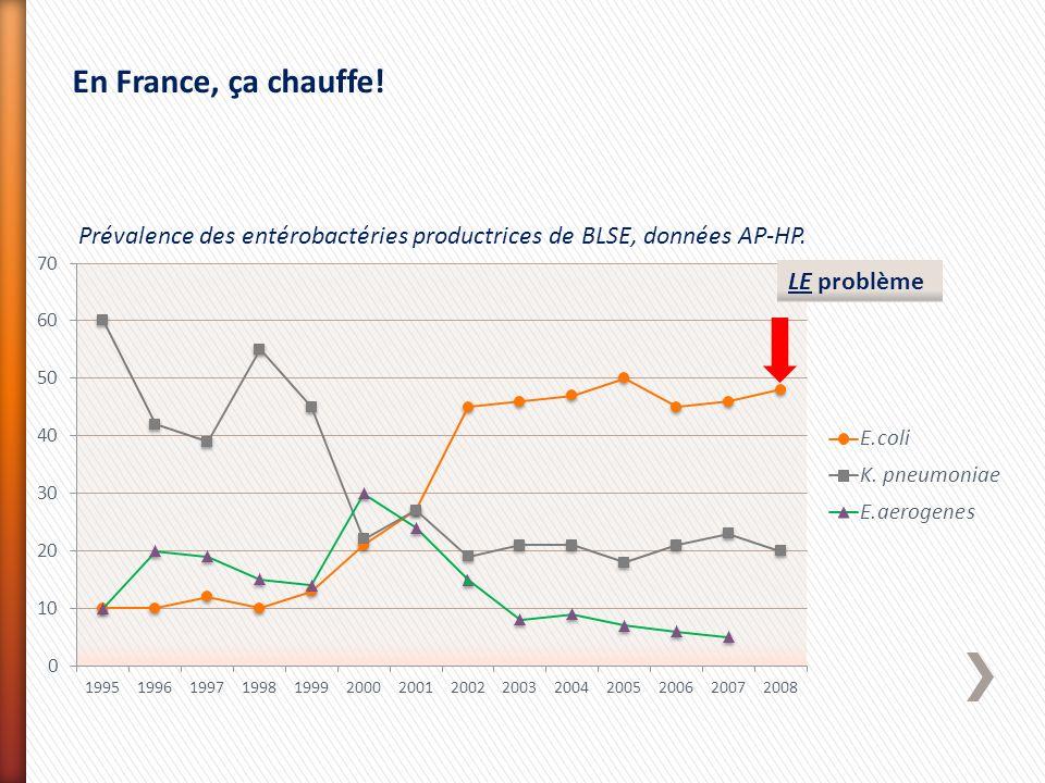 Prévalence des entérobactéries productrices de BLSE, données AP-HP. LE problème En France, ça chauffe!
