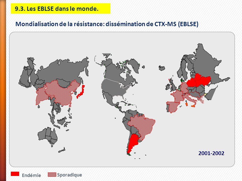 Endémie Sporadique 2001-2002 Mondialisation de la résistance: dissémination de CTX-MS (EBLSE) 9.3. Les EBLSE dans le monde.