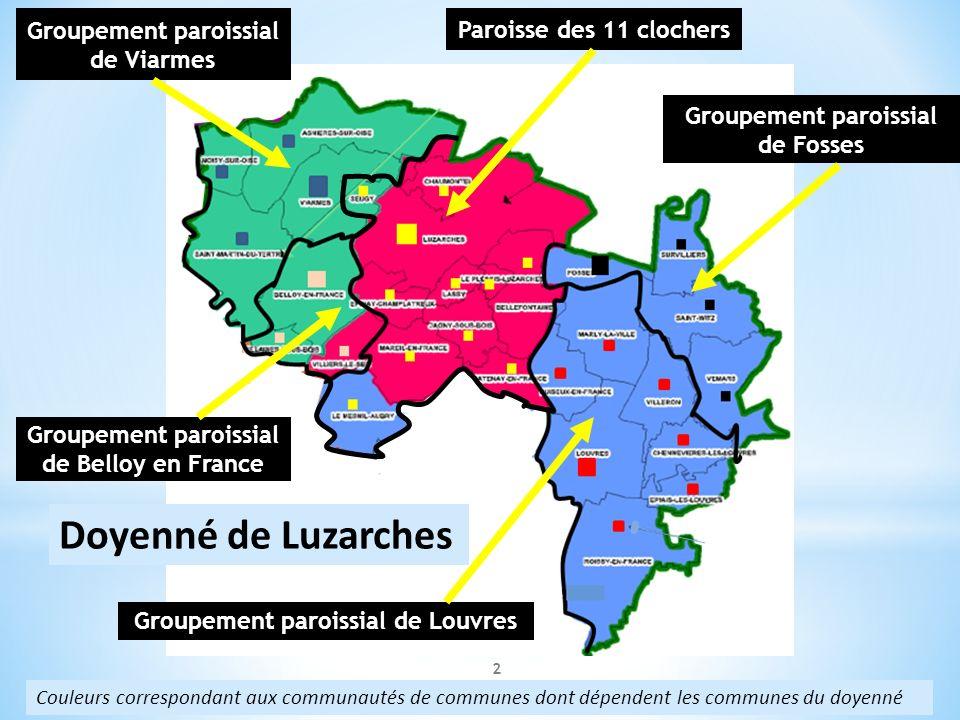 2 Doyenné de Luzarches Couleurs correspondant aux communautés de communes dont dépendent les communes du doyenné Paroisse des 11 clochers Groupement p