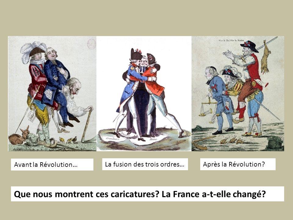 Avant la Révolution… La fusion des trois ordres…Après la Révolution? Que nous montrent ces caricatures? La France a-t-elle changé?