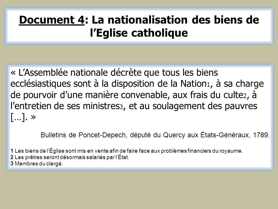 Document 4: La nationalisation des biens de lEglise catholique « LAssemblée nationale décrète que tous les biens ecclésiastiques sont à la disposition